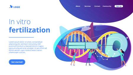 Scientists fertilize huge cell with syringe. Artificial reproduction, in vitro fertilization, artificial propagation concept on white background. Website vibrant violet landing web page template.