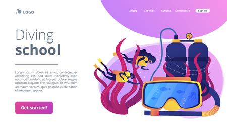 Diving school concept landing page.