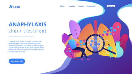 Male patient with anaphylactic symptoms and doctor with magnifier. Anaphylaxis, anaphylaxis shock treatment, allergic reaction help concept. Website vibrant violet landing web page template. 일러스트