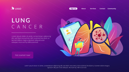 Lung cancer concept landing page.