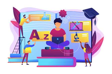 Student centered education, knowledge gaining, remote graduation. Bite-sized learning, learn at own pace, flexible learning process concept. Bright vibrant violet vector isolated illustration