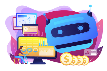 Futuristic calculating machine, business analysis assistance. Artificial intelligence in financing, robo finance advisor, AI hedge funds concept. Bright vibrant violet vector isolated illustration