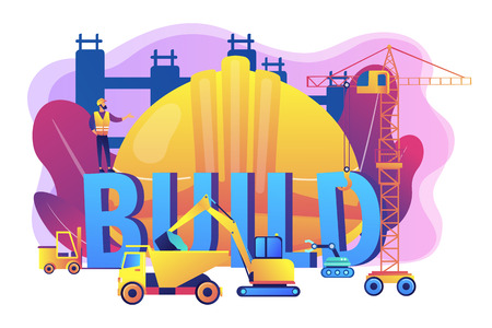 Building business transportation. Modern construction machinery, heavy equipment for construction, industrial and heavy equipment for rent concept. Bright vibrant violet vector isolated illustration