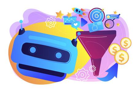 Funnel di marketing, lead generation, strategia SMM. Strumenti di marketing basati su AI, ricerca e-commerce AI, concetto di raccomandazioni per i clienti AI. Illustrazione isolata di vettore viola vibrante luminoso