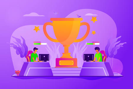Professional gamers competition. Video game online tournament, electronic entertainment. E-sport, cybersport market, competitive computer gaming concept. Vector isolated concept creative illustration