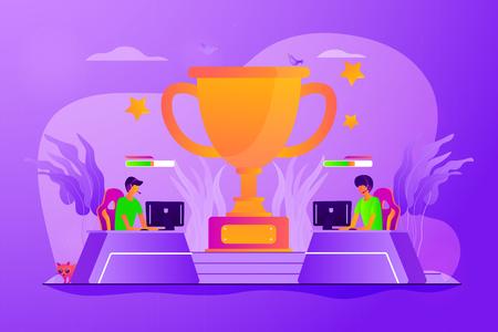 Wettbewerb für professionelle Spieler. Online-Turnier für Videospiele, elektronische Unterhaltung. E-Sport, Cybersport-Markt, wettbewerbsfähiges Computerspielkonzept. Kreative Illustration des isolierten Konzepts des Vektors