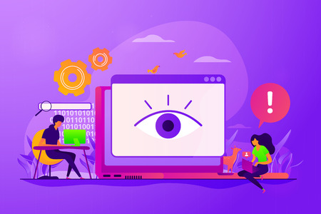 Internet defamation, persistent stalking. Privacy assault, obsessed stalker. Cyberstalking, pursuit of social identity, online false accusations concept. Vector isolated concept creative illustration Çizim