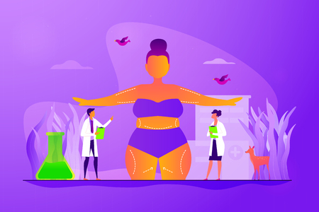 Beauty clinic, liposuction procedure, appearance change. Patient and doctors. Body contouring, body correction surgery, body plastic service concept. Vector isolated concept creative illustration Standard-Bild - 128545515
