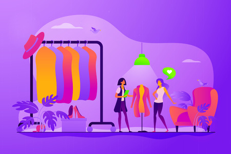 Apparel designer, shopper and seller consultant. Vogue industry, wardrobe update. Fashion house, clothing design house, fashion production concept. Vector isolated concept creative illustration Illusztráció
