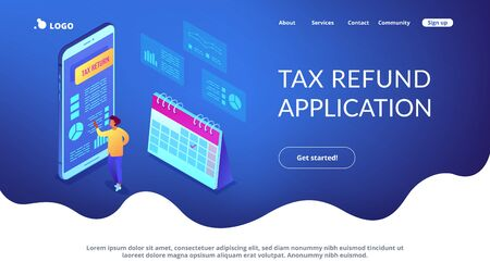Businessman using tax return application on mobile phone. Tax return service, tax refund application, worldwide internet shopping concept. Isometric 3D website app landing web page template Stock Vector - 128545523