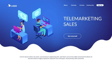 Operators with headsets calling potential customers to support or make a sale. Cold calling, old school marketing, telemarketing sales concept. Isometric 3D website app landing web page template