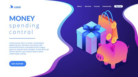 Cash savings isometric 3D landing page.