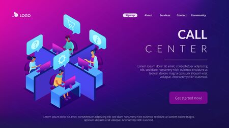 Call center isometric 3D landing page. 矢量图像