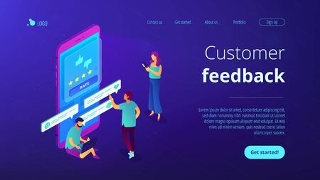 Customer feedback isometric 3D landing page.