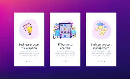 Businessmen work with improvement diagrams and charts. Business process management, business process visualization, IT business analysis concept. Mobile UI UX GUI template, app interface wireframe