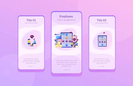 HR manager with employee at interview and business flow chart. Employee assessment software, HR company system, employee check programme concept. Mobile UI UX GUI template, app interface wireframe Illustration