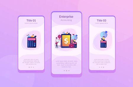 Accountants work with financial transactions software and tablet. Enterprise accounting, IT accounting system, smart enterprise tools concept. Mobile UI UX GUI template, app interface wireframe Vector Illustration