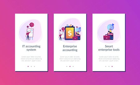 Accountants work with financial transactions software and tablet. Enterprise accounting, IT accounting system, smart enterprise tools concept. Mobile UI UX GUI template, app interface wireframe
