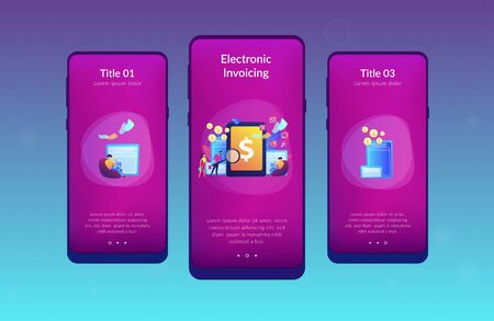 Clients with magnifier get e-invoicing and pay bills online. E-invoicing service, electronic invoicing, e-billing system and e-economy tools concept. Mobile UI UX GUI template, app interface wireframe