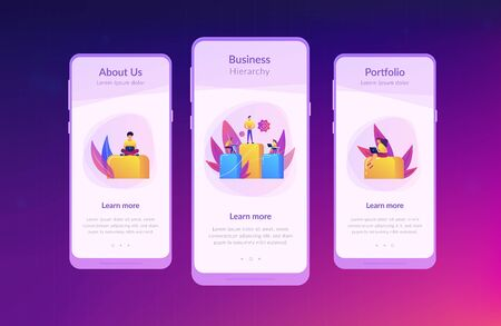 Businessmen work with laptops on graph columns. Business hierarchy, hierarchical organization, levels of hierarchy concept on white background. Mobile UI UX GUI template, app interface wireframe