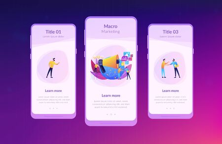 Marketing specialist with loudspeaker influence businessmen and globe. Macromarketing, social influence, global marketing strategy concept. Mobile UI UX GUI template, app interface wireframe