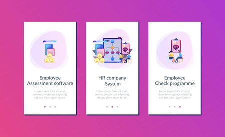 HR manager with employee at interview and business flow chart. Employee assessment software, HR company system, employee check programme concept. Mobile UI UX GUI template, app interface wireframe Standard-Bild - 128545588