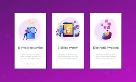 Clients with magnifier get e-invoicing and pay bills online. E-invoicing service, electronic invoicing, e-billing system and e-economy tools concept. Mobile UI UX GUI template, app interface wireframe Vector Illustration