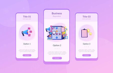 Businessmen with magnifier looking at business process flow chart. Business rules and regulation, main company policy, IT business analysis concept. Mobile UI UX GUI template, app interface wireframe Standard-Bild - 128545604