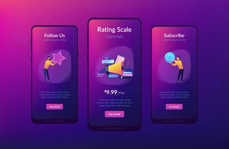 Megaphone and businessmen rate with stars and thumb up icons. Rank and rating scale, high-ranking, top-ranking concept on white background. Mobile UI UX GUI template, app interface wireframe Illustration