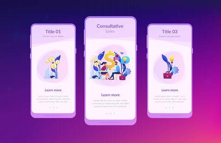 Consultative sales app interface template. Ilustrace