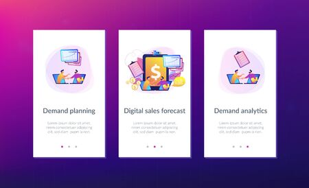 Demand analysts shaking hands from laptops screens and planning future demand. Demand planning, demand analytics, digital sales forecast concept. Mobile UI UX GUI template, app interface wireframe  イラスト・ベクター素材