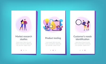 Consumers with magnifier testing new product properties. Product testing, customer needs identification, market research studies concept. Mobile UI UX GUI template, app interface wireframe