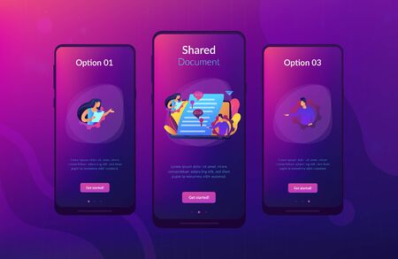 Business team editing shared document on laptop online. Shared document, shared folder access, collaborative document editing concept. Mobile UI UX GUI template, app interface wireframe