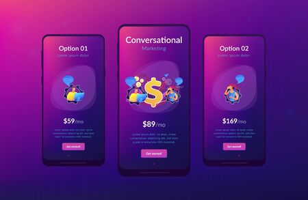 Customer has conversation on smartphone with assistant in real-time. Conversational sales, conversational marketing, real-time chatbot sale concept. Mobile UI UX GUI template, app interface wireframe