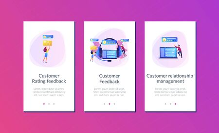 Customers at laptop and headset giving thumb up, rating stars. Customer feedback, customer rating feedback, customer relationship management concept. Mobile UI UX GUI template, app interface wireframe