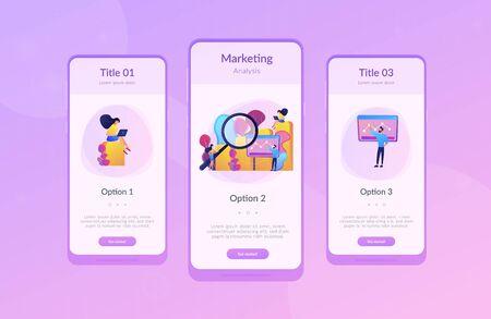 돋보기 연구 마케팅 기회 차트가 있는 마케터. 마케팅 조사, 마케팅 분석, 시장 기회 및 문제 개념. 모바일 UI UX GUI 템플릿, 앱 인터페이스 와이어프레임 벡터 (일러스트)