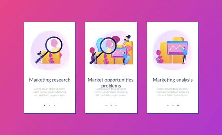 Marketers with magnifier research marketing opportunities chart. Marketing research, marketing analysis, market opportunities and problems concept. Mobile UI UX GUI template, app interface wireframe