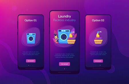 Dry cleaning and laundering app interface template.