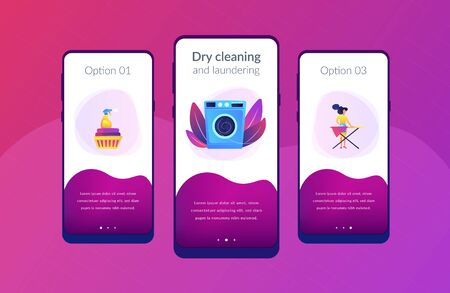 Laundry service worker ironing, washing machine. Dry cleaning and laundering, laundry facilities industry, cleaning and restoration services concept. Mobile UI UX GUI template, app interface wireframe Stock Illustratie