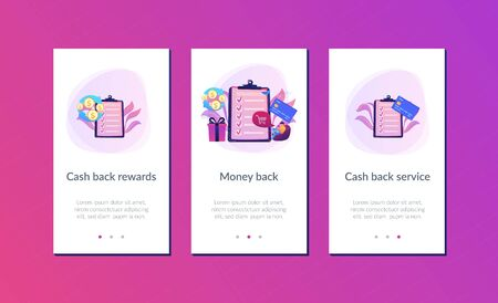 Cardholder with smartphone shopping online and getting cach rewards and checklist. Cash back service, cash back rewards, money back concept. Mobile UI UX GUI template, app interface wireframe Illustration