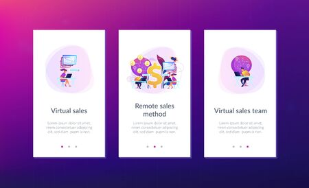 Salespeople team working remotely with customers all over the world and dollar sign. Virtual sales, remote sales method, virtual sales team concept. Mobile UI UX GUI template, app interface wireframe