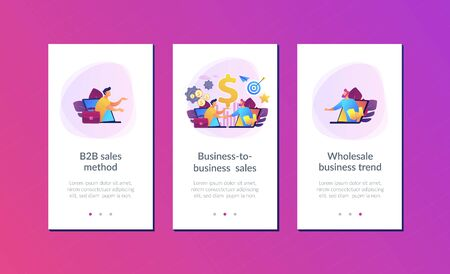 B2B sales person selling products and services to buyer in laptop. Business-to-business sales, B2B sales method, wholesale business trend concept. Mobile UI UX GUI template, app interface wireframe