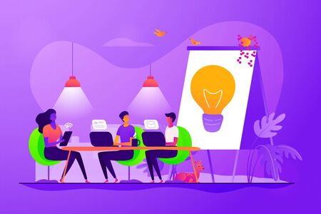 Remote work, colleagues brainstorming and searching solution. Coworking of freelancers, teamwork and communication, independent activity concept. Vector isolated concept creative illustration