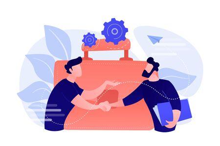 Twee zakenpartners handen schudden en grote aktetas. Partnerschap en overeenkomst, samenwerking en deal voltooid concept op witte achtergrond. Geïsoleerd koraal roze palet vectorillustratie.