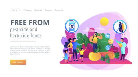 Free from pesticide and herbicide foods concept landing page.