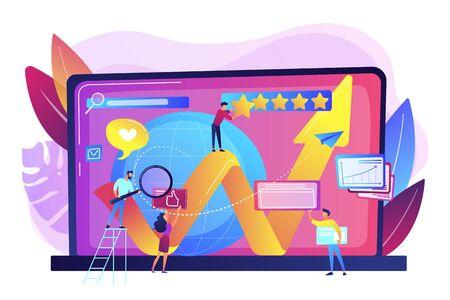 PR-Manager, Internet-Vermarkter Coworking. Online-Reputationsmanagement, Produkt- und Servicesuchergebnisse, Konzept der digitalen Raumdarstellung. Helle, lebendige violette Vektor-isolierte Illustration