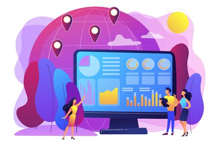 Global trading, stock market analysis. International commerce statistics analyzing, economic globalization. Environment data analytics concept. Bright vibrant violet vector isolated illustration