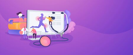 Training injuries treatment, physiotherapists helping patients. Sports medicine, sports medical services, sports physician specialist concept. Website homepage header landing web page template.
