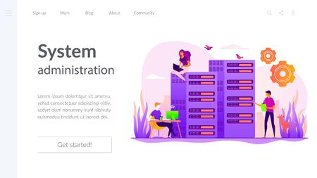 System administration landing page template Illustration