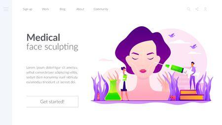 Facial contouring concept landing page Иллюстрация